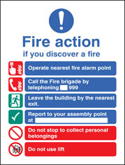 Fire Action EEC (Manual 999) Adhesive Backed Sign