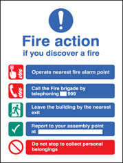 Fire Action EEC (Manual Without Lift) Adhesive Backed Sign