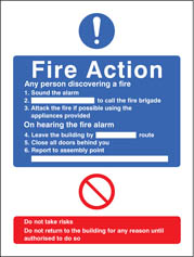 General Fire Action Editable Sign