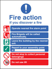 Fire Action Auto Dial With Lift Adhesive Backed Sign