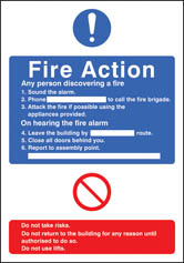 General Fire Action With Lift Editable Sign