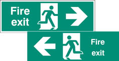 Fire exit double sided with arrow 1200x400mm 5mm rigid