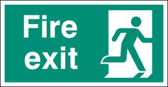 Fire exit right BS single sided Large 5mm Rigid Plastic Sign