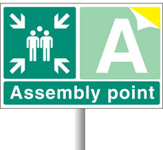 Assembly Point Signs With Custom Letter/Number