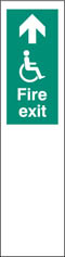 Door plate disabled fire exit ahead