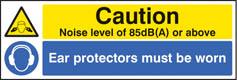 Noise level 85dB(A) ear protectors worn Sign (5222)