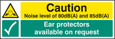 Noise level 85DB(A) Ear Protectors Available Sign