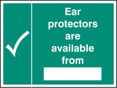 Ear protectors available from sign