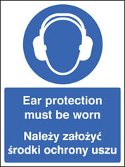 Ear protection must be worn (English Polish) Sign
