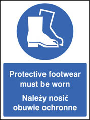 Protective footwear must be worn (English Polish) Sign
