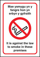 Welsh dual language no smoking premises sign