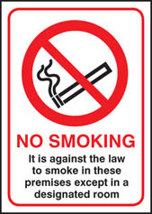 No smoking against law except designated room sign