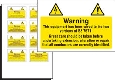 BS 7671 Electrical hazard labels