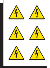 Electricity Labels sheet of 6