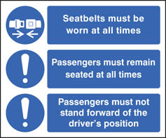 Wearing of seatbelts symbols sign