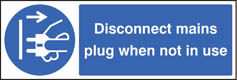 Disconnect mains plug when not in use Sign