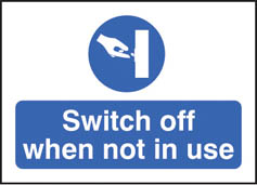 Switch off when not in use sticker