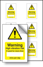 High vibration risk stickers