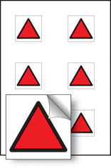 Red triangle vibration safety stickers
