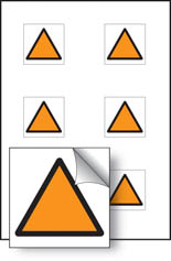 Orange triangle vibration safety stickers