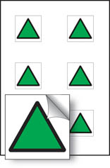 Green triangle vibration safety stickers
