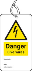 Danger live wires double sided safety tags (pack of 10)