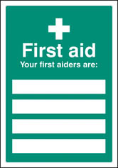 First aiders are... Editable Sign