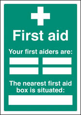 First aiders the nearest first aid box is situated Editable Sign