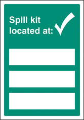 Spill kit located at Editable Sign
