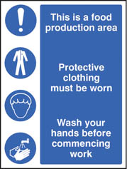 Food production area protective clothing sign