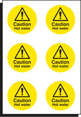 6 Caution Hot water labels