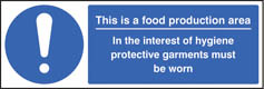 Food production hygiene sign