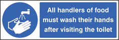 Handlers of food must wash hands sign