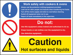 Work safety with cookers and ovens sign