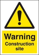 Warning construction site sign (A4)