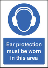 Ear protection must be worn sign (A5)