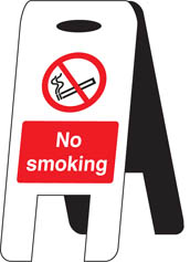 No smoking self standing folding sign