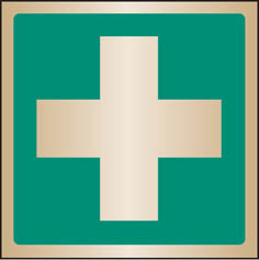 First aid symbol Brass Sign