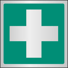 First aid symbol aluminium sign