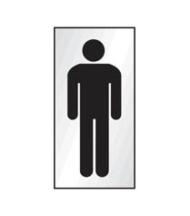 Aluminium Gents symbol Sign 70x140mm