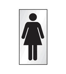 Aluminium Ladies symbol Sign 70x140mm