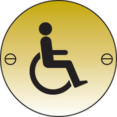 Disabled symbol mm dia Brass Sign