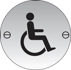 Disabled symbol stainless steel sign