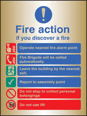 Fire Action Auto Dial With Lift Brass Sign