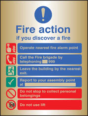 Fire Action Manual Dial With Lift Brass Sign