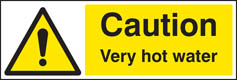 Caution very hot water adhesive backed sign