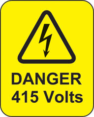 Danger 415 Volts Roll Of 100 Self Adhesive Labels 40x50mm