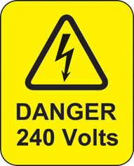 Danger 240 Volts Roll Of 100 Self Adhesive Labels 40x50mm
