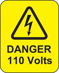 Danger 110 Volts Roll Of 100 Self Adhesive Labels 40x50mm