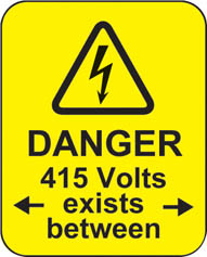 Danger 415 Volts Exists Between Roll Of 100 Labels 40x50mm